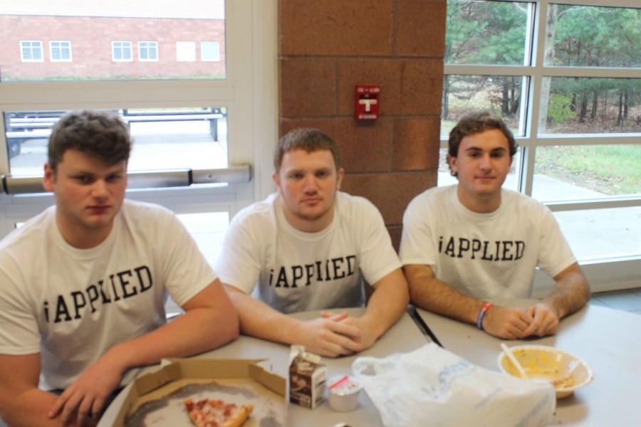 Seniors Connor Gundy, Austin Rutheford and Matt Nalley sport their