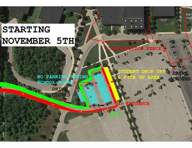 The senior parking lot will be closed due to construction on the school. The drop-off lane is also closed and relocated to the senior parking.
