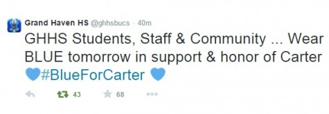 The GHHS twitter account join the #blueforcarter movement