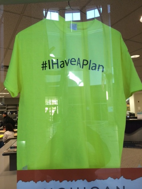 Seniors can get their #IHaveAPlan shirt in Student Services when they have turned in their applications or made other plans.