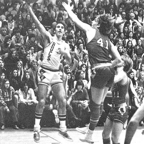 Gary Speer of the 1972-73 Buccaneer basketball team looks to make a pass at a game in the Pirate's Pit. The team played at the Pit, now the Lakeshore Middle School gym, from 1953-97.