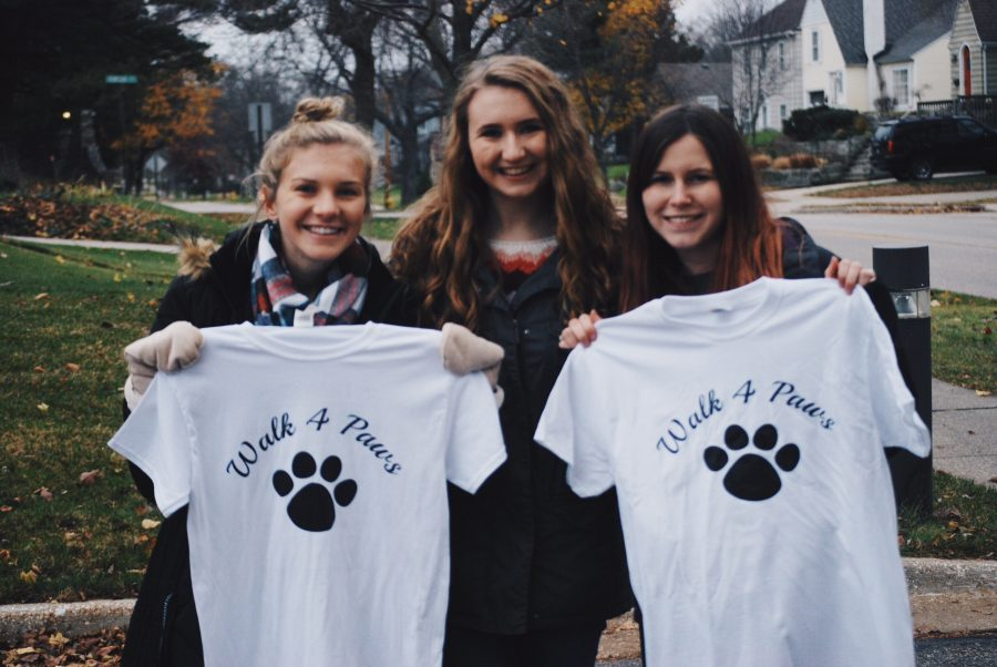 Seniors Kristen Prelesnik, Rachel Greer and Miciah Hirr pose with their Walk 4 Paws T-shirts. The girls created the Walk 4 Paws event. They signed up for a community service event for DECA, so they were motivated to create an event that would bring people together while benefiting a non profit animal welfare organization.