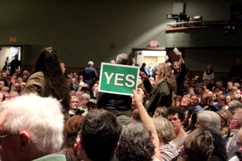 "A crowd member holds up a sign that reads ""NO"" on one side and ""YES"" on the other. Many used the signs to communicate their distaste or approval for an idea expressed by Congressman Bill Huizenga."