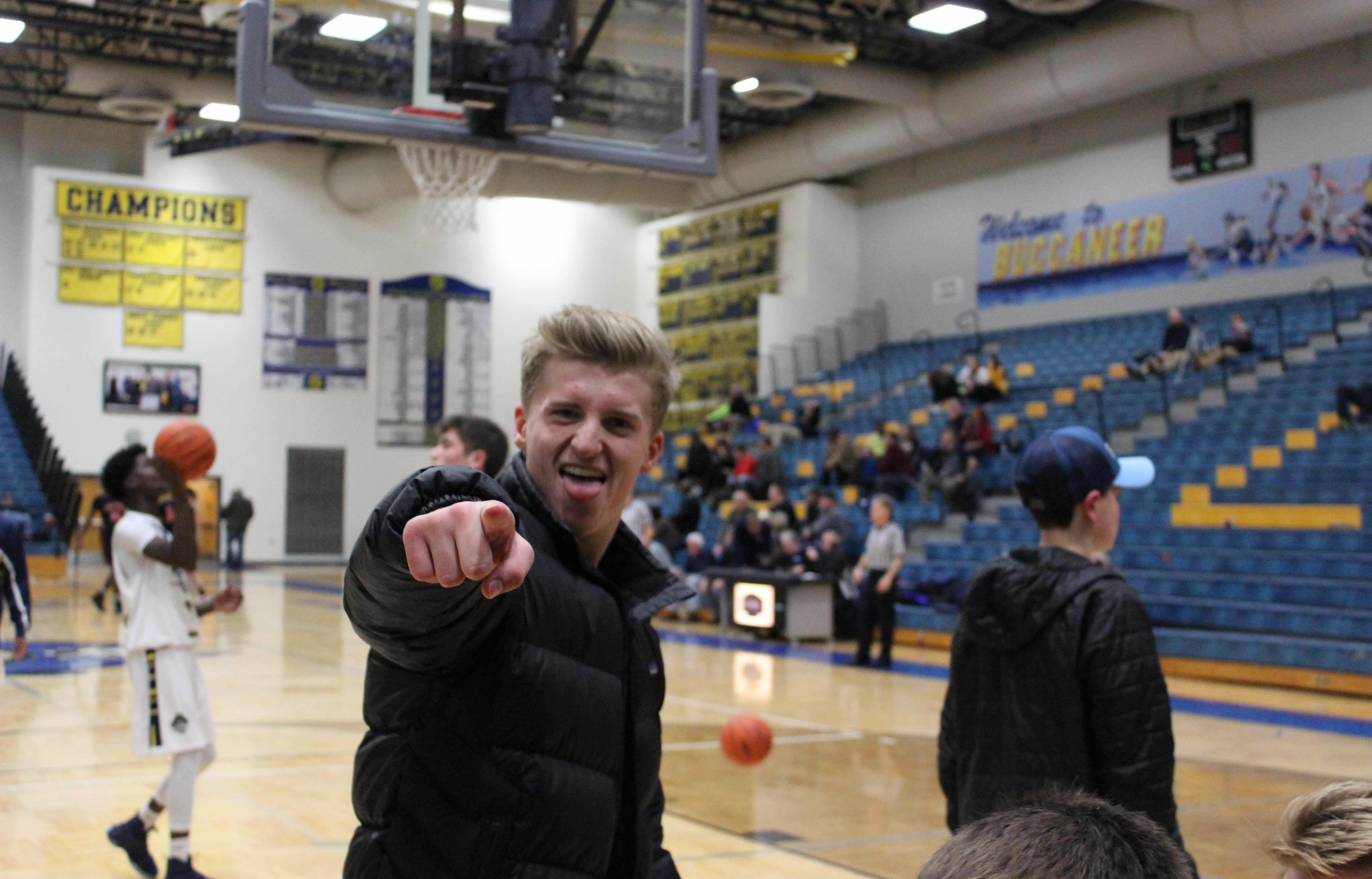 Jack Reus at a basketball game expressing his enthusiasm