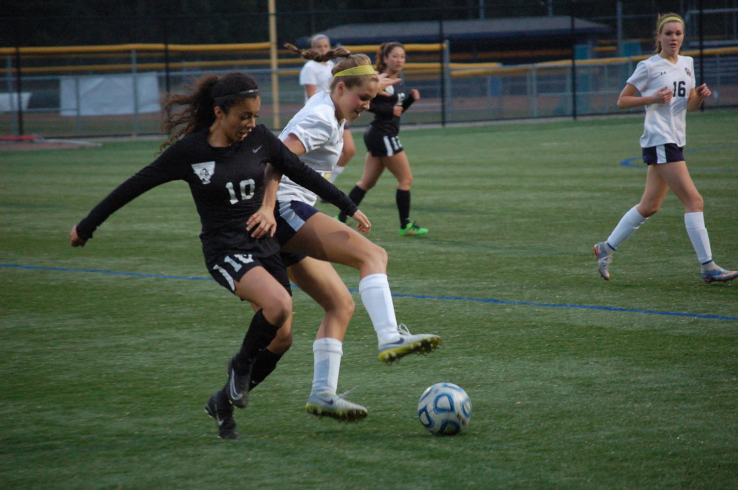 Sophomore Dahlia Jerovsek fights for the ball in the last contest against West Ottawa