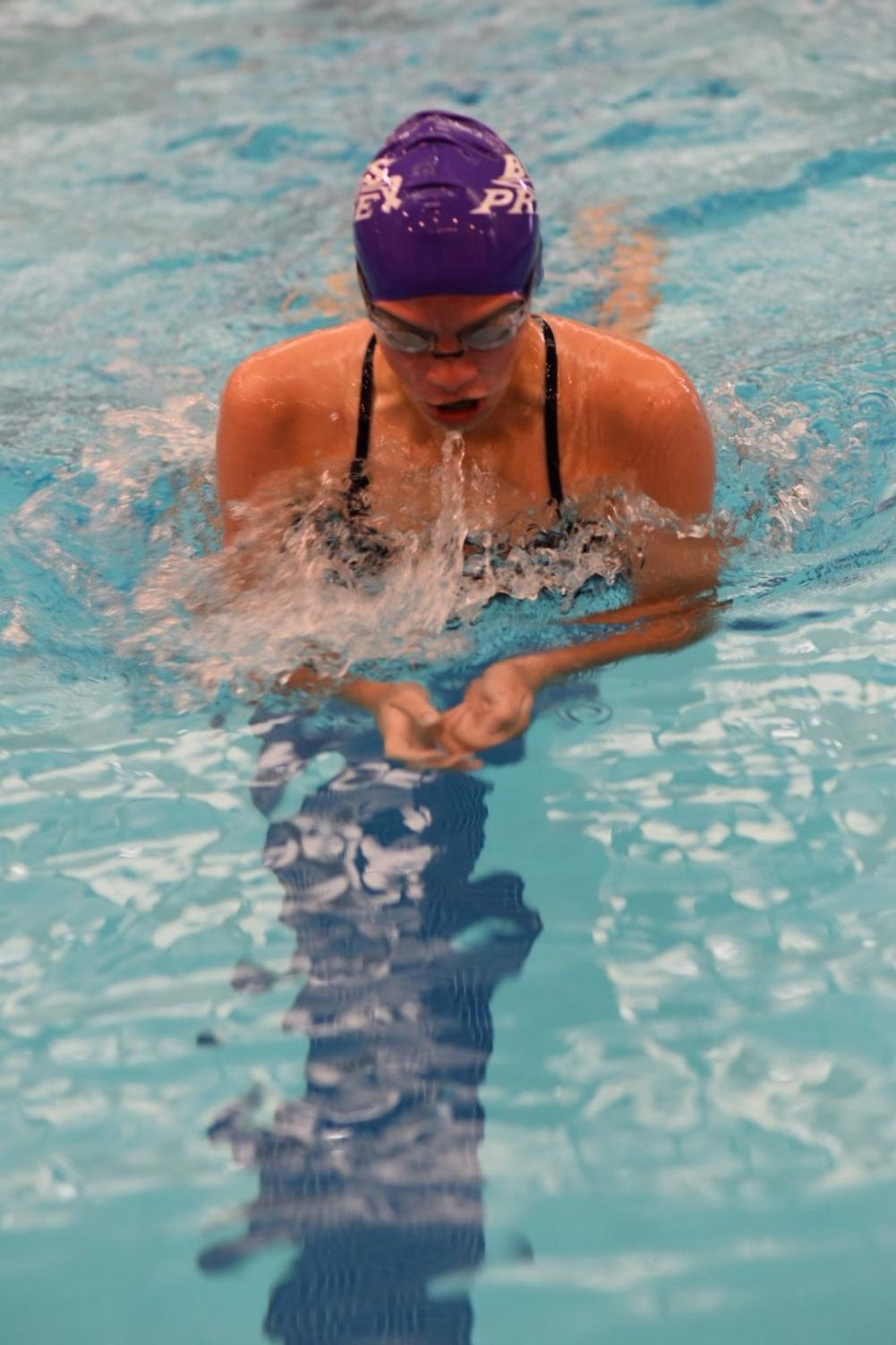 Sophomore Kathryn Ackerman charges through another breast-stroke event in a conference meet at home. She hopes to repeat the same against Hamilton.