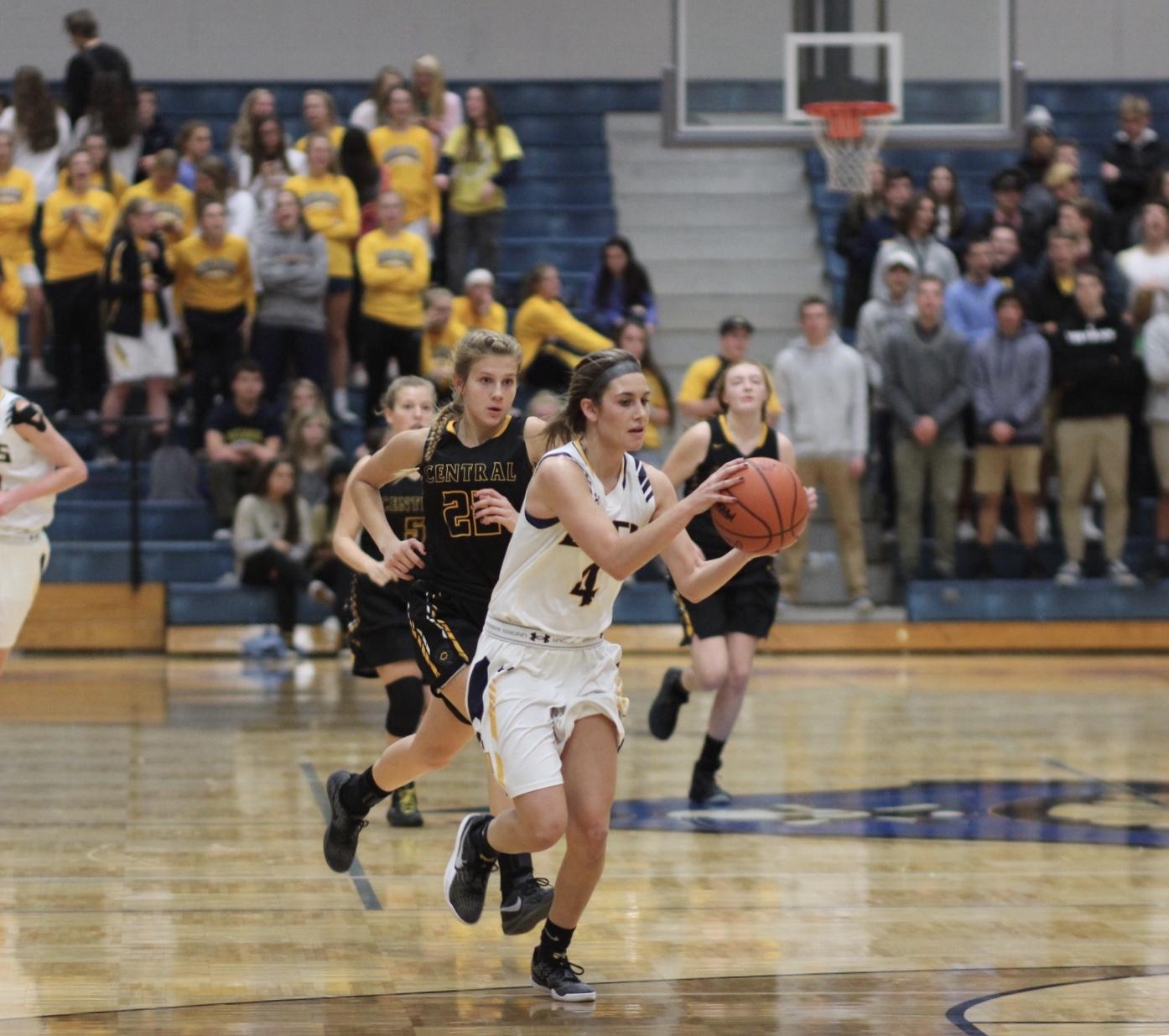 Junior Allie Keyser moves the ball up the court