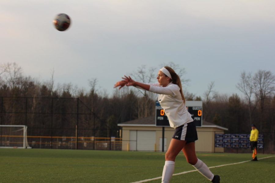 A+Buccaneer+completes+a+throw-in+during+the+team%27s+home+match+vs.+Jenison