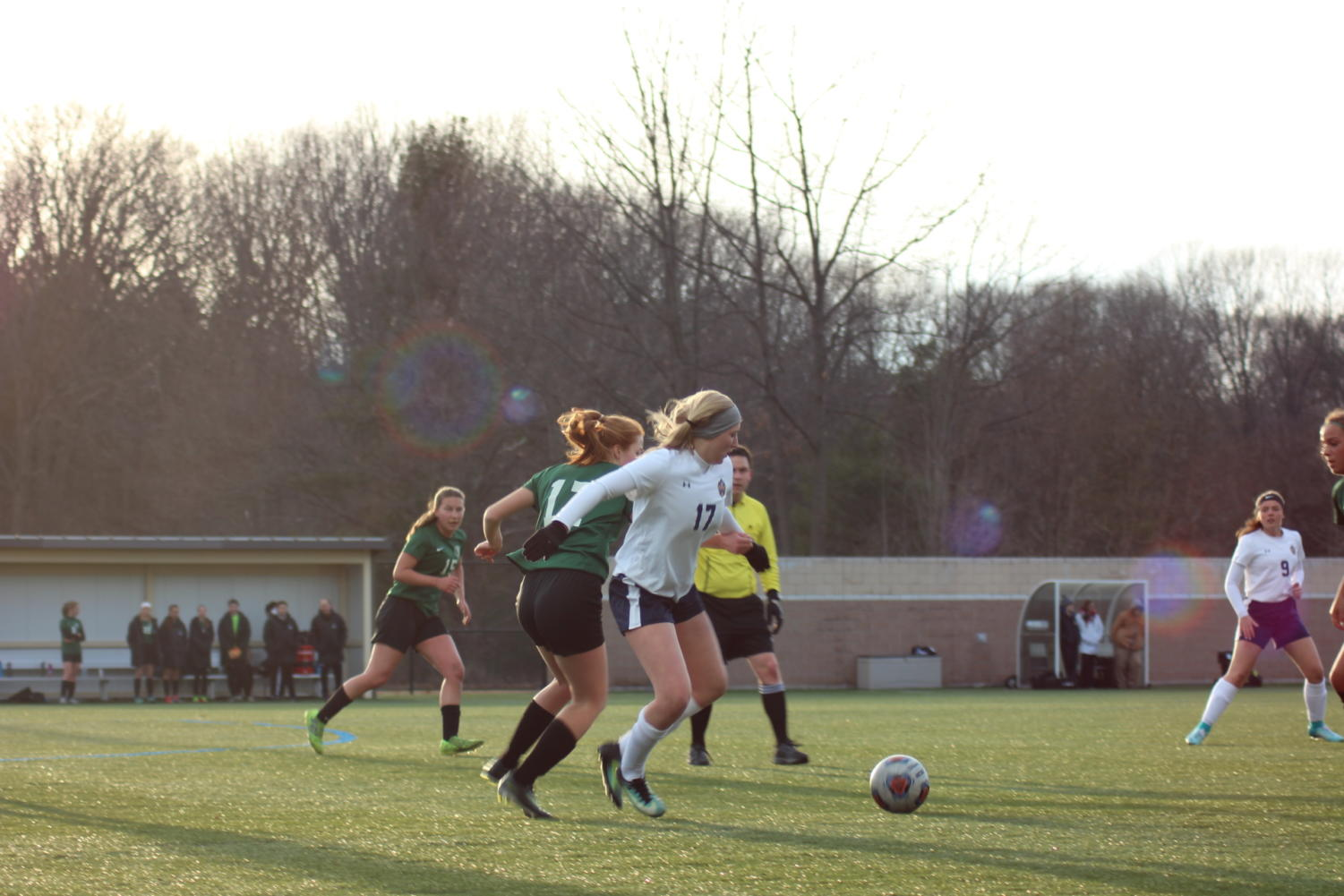 A Buccaneer player dribbles past a Jenison opponent. A dynamic offense is what fueled the Bucs' 3-0 record this week.