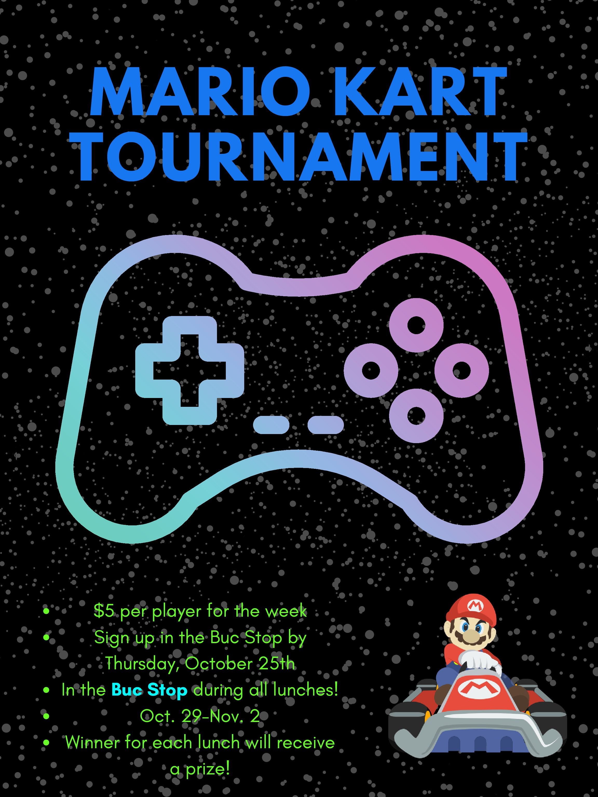 The logo for the Mario Kart Tournament hosted by the Grand Haven High School Buc Stop