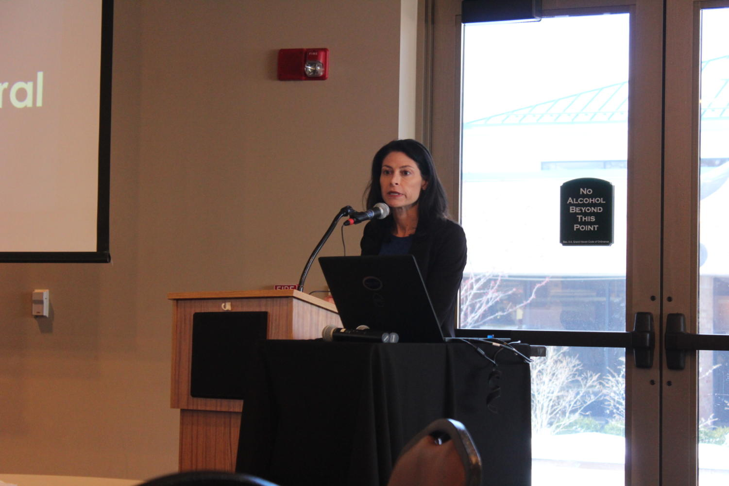 Attorney General Dana Nessel speaks at the Grand Haven Community Center about the Freedom of Information Act.