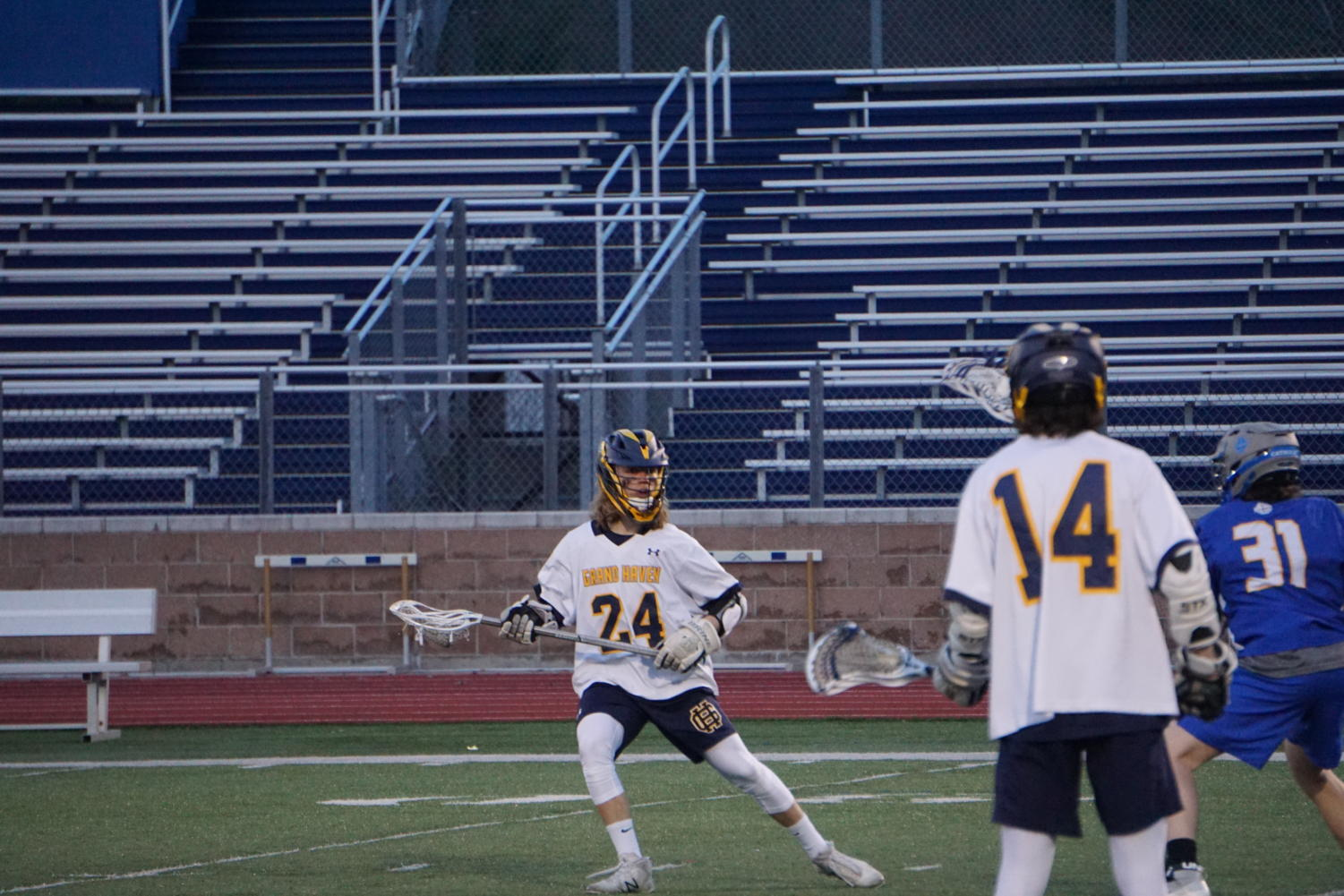 Junior Mitch Bosgraaf looks to set up for a shot on goal.
