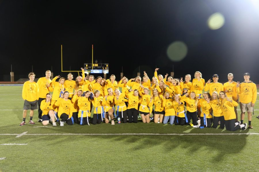 The class of 2020 poses for a picture post powderpuff competition 2018. Powderpuff is one of the most popular homecoming week events and draws a large crowd. Other popular events include the belly flop, the football game, and the dance.