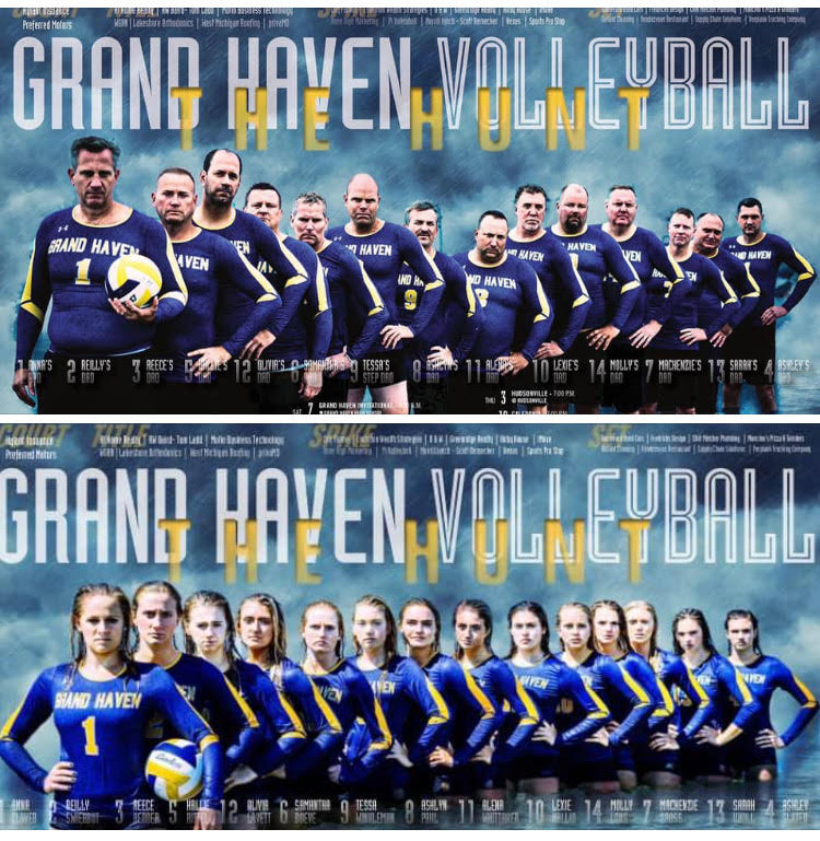 Smaka+posted+this+photo+on+the+Grand+Haven+Girls+Volleyball+social+media+on+Sept.+17+with+the+caption+%22Dads+will+do+anything+for+their+daughters+-+and+we+have+some+of+the+best.+%23DadSquad%22