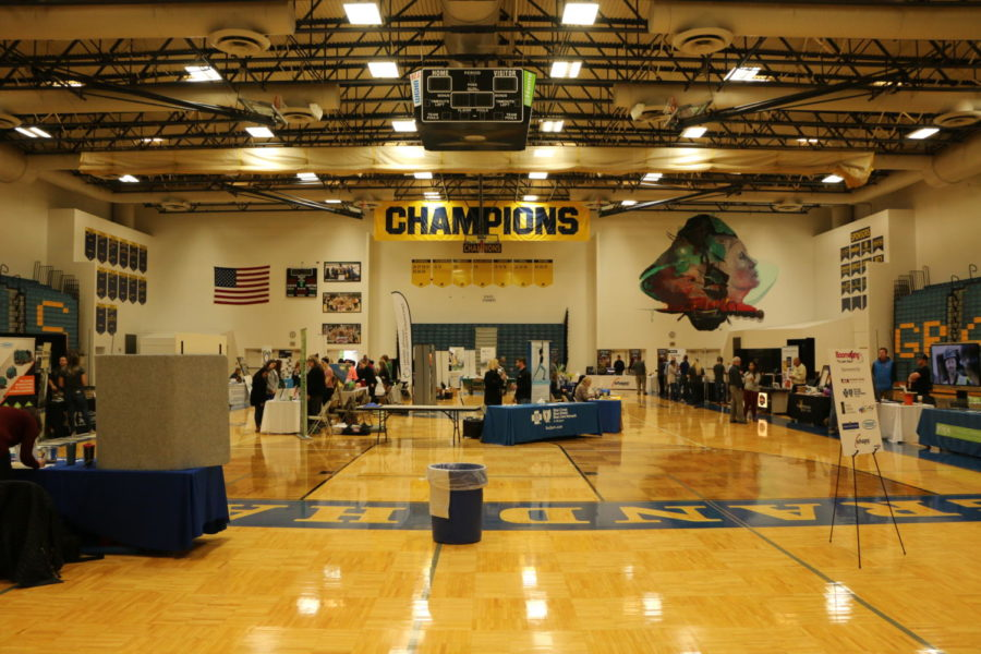 Students walk around the gym during the 13th annual Boomerang event.
