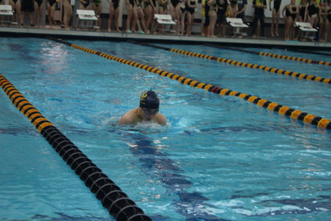 Junior Regan Riemersma strives to win her race and beat her personal record in the breaststroke. Grand Haven girls swim team competed against Rockford on Thursday October 3.