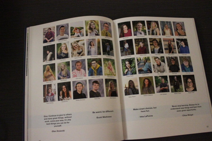 Last years yearbook contained 22 pages of senior photos. A wide variety of shots were submitted and placed in their respective alphabetical order.