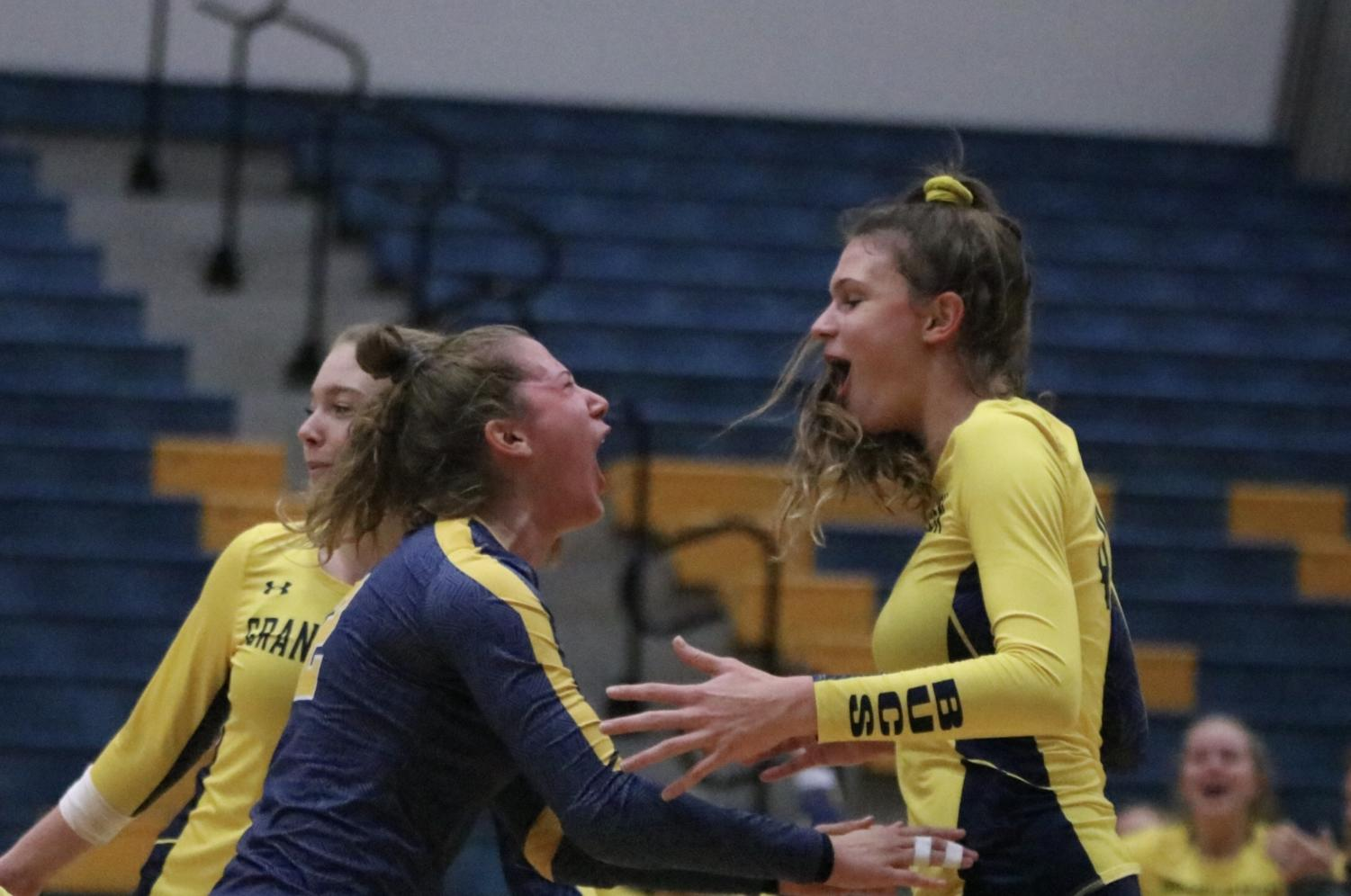 """Senior Ashley Slater gets the game point kill to secure the win for the Bucs and break a school record. """"It's really exciting,"""" Slater said. """"We've had some great players come through Grand Haven. So, to be a part of that and break some records is really exciting."""" Her teammates are very proud of her accomplishments. """"She has come such a long way,"""" Senior Reilly Swierbut said. """"I wouldn't want to go through this whole experience without having her on my side."""""""