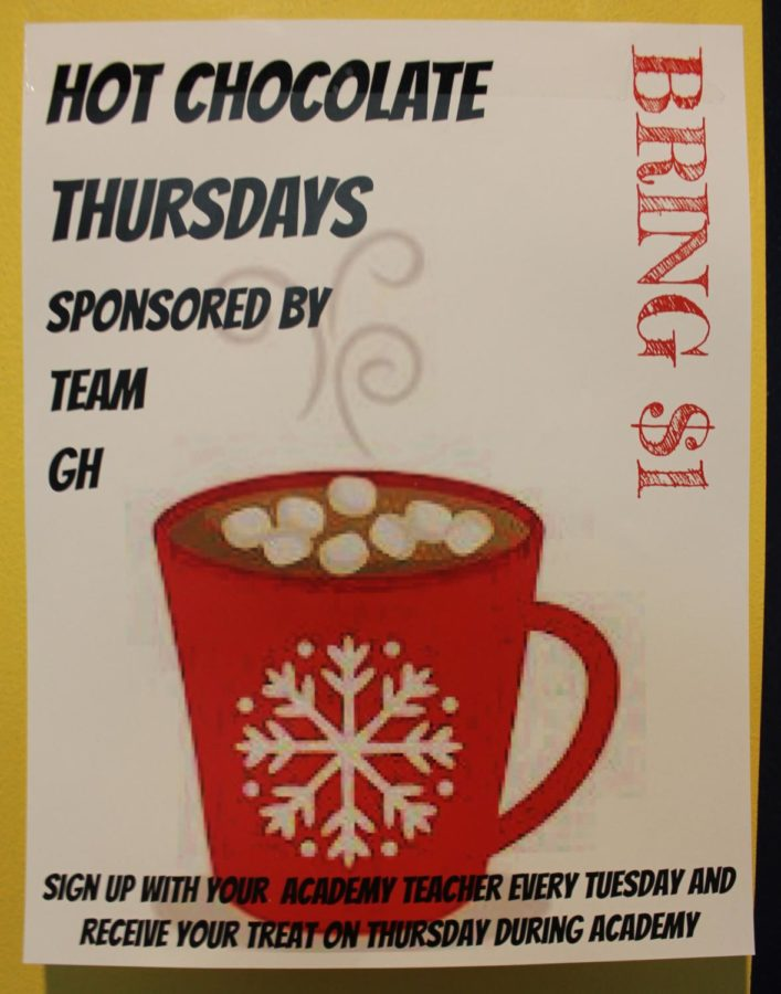 Hot chocolate is only $1.00 every other Thursday and is delivered during academy.