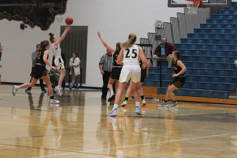Sophomore Alyssa Hatzel takes a shot during a game against Hamilton. Taking and making quality shots will be important for both teams to come out on top.