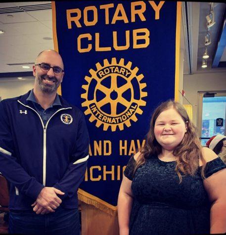 Senior Jessica Skinner was honored as a December student of the month alongside teacher John Mauro.