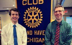 Senior Matthew Dickinson was honored as a December student of the month alongside teacher Jason Klinger