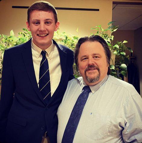 Senior Sam Woiteshek was honored as January student of the month alongside teacher Mark Robertson.