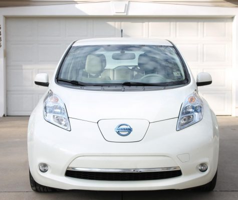 The Nissan Leaf is an electric car that gives off zero emissions.