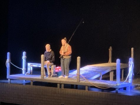 SCENE TWO: Freshman Aidan Mountford (as Johnathan) and Junior Ali Clark (as Beth) acting in their scene. Ali is on the dock sitting with her father who has Alzheimer. And she