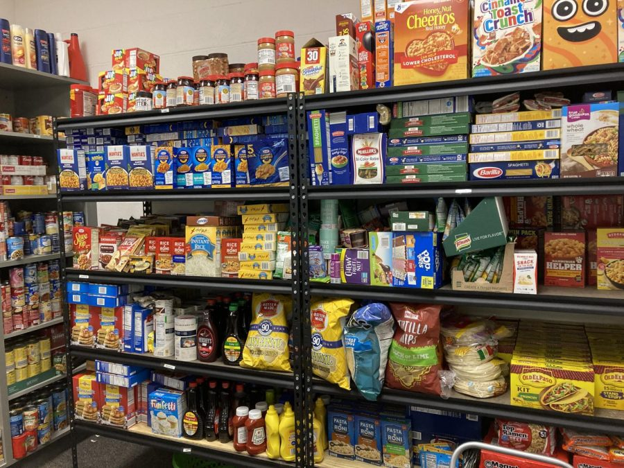 PANTRY: Walls are filled with different items that have been donated to the Bucs' Care Food Pantry.