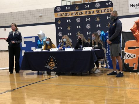 SPEECH: Women's Soccer head coach, Yvonne McKessy, speaks about each player before the signing. From left to right, Strohmeyer, Wilson, Richardson, Wagasky and assistant coach, Dave Prout listen. McKessy became tearful several times while putting into words her memories of each player.