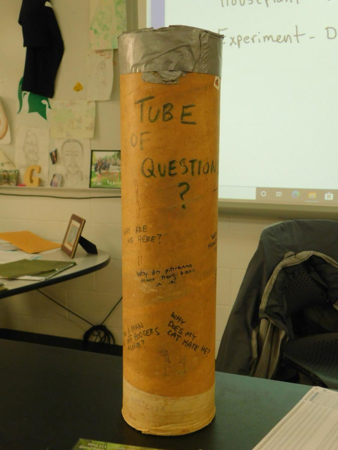 TUBE OF QUESTIONS: Glass' tube of questions was originally created for students to drop science related questions into anonymously. Over the years, it has broadened where students can drop anything into it.