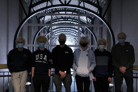 BLEACH: From left to right, Chase Layman, Colin Kelly, Thomas MacDonald, Gabriel Hamm, Sam Timmer and Micheal MacDonald pose with their bleached hair.