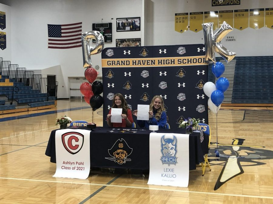 COMMITTED: Kallio and Pahl have both committed to continue their volleyball careers in the upcoming fall at Lawrence Technological University and Carthage College on Tuesday, May 4 at Grand Haven High School.