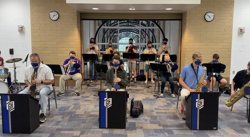 Jazz band marches through hallways before school