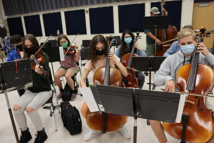 Chamber orchestra rehearsing for Halloween concert.